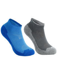 дитячі туристичні шкарпетки MH100 середньої висоти, 2 пари - Сині/Сірі