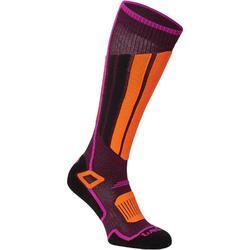 成人滑雪襪500紫色橘色