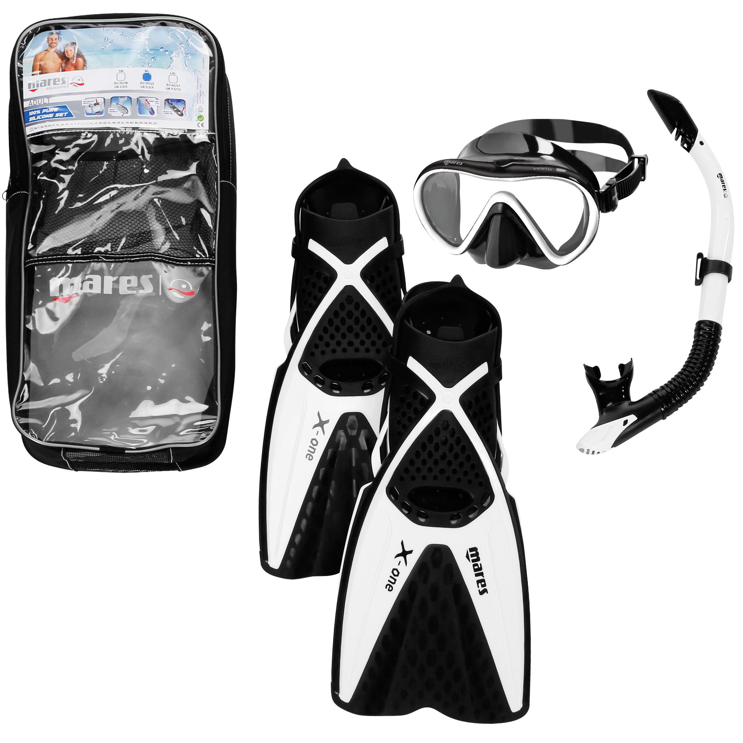 Mares Snorkelset X-One (snorkelvinnen, duikbril, snorkel) zwart wit