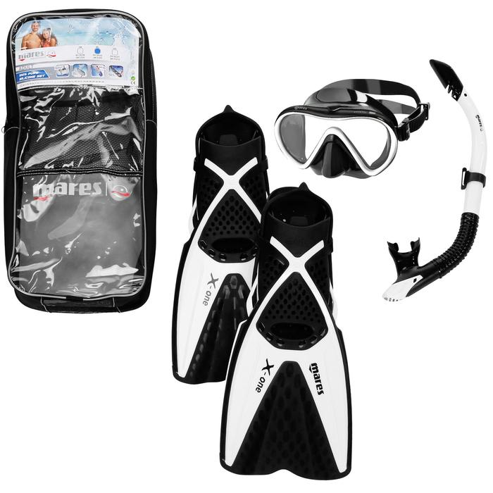 Kit d'apnée Freediving PMT palmes masque tuba Adulte X One noir blanc