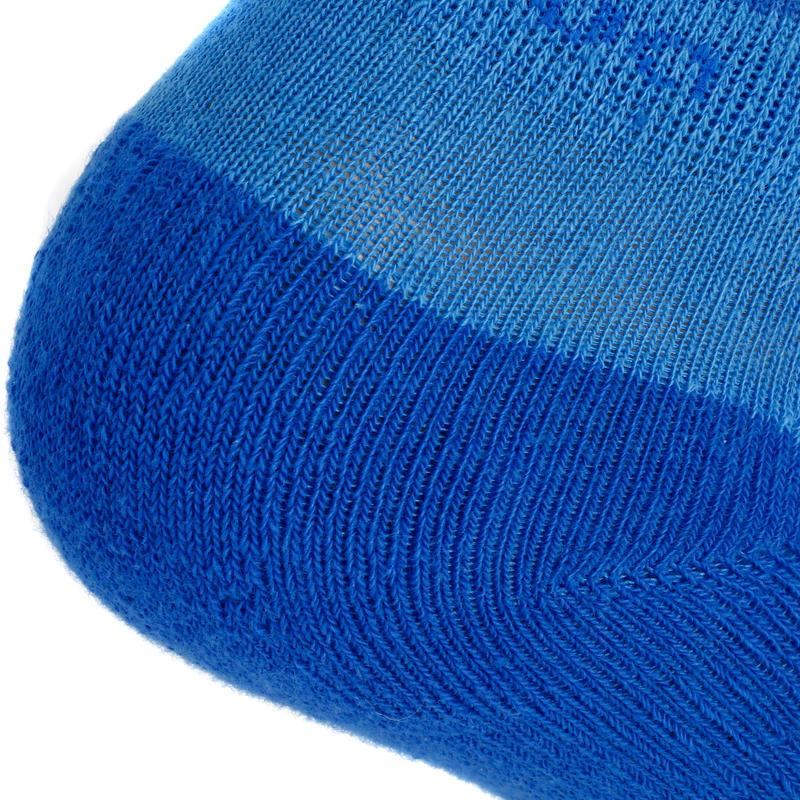 Chaussettes de randonnée enfant MH100 tiges mid Bleu/Gris lot de 2 paires.