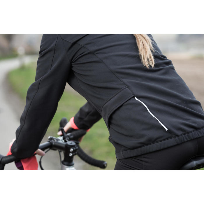 Chaqueta ciclismo mujer triban rc100 negro rosa