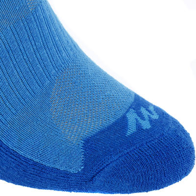 children's hiking socks MH100 mid upper Blue/Grey set of 2 pairs.