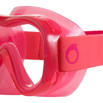 FMS 100 freediving fins mask snorkel kit for children coral pink