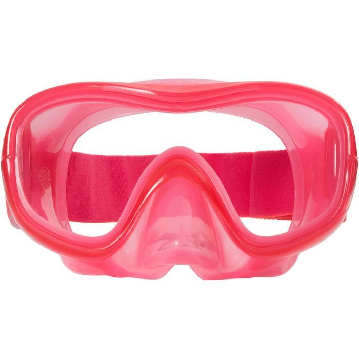 Kit masque tuba d'apnée freediving FRD100 rose corail pour enfants