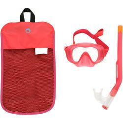 Snorkelset duikbril en snorkel FRD 120 koraalrood voor kinderen