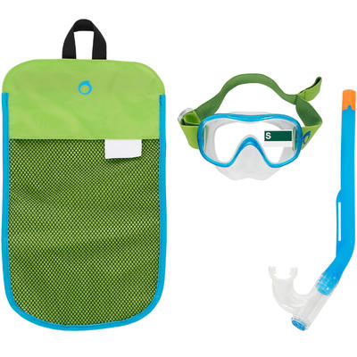 FMS 100 freediving fins mask snorkel kit for children green blue
