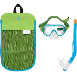 Kit masque tuba d'apnée freediving FRD120 vert bleu pour enfants