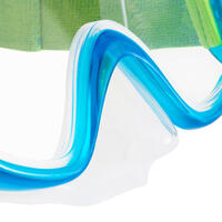 Kit de snorkel Máscara Tubo 100+ niños verde y azul