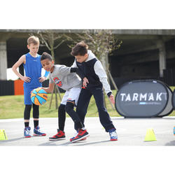 Basketbal hoodie met rits J100 voor beginnende jongens/meisjes marineblauw grijs