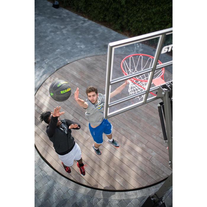 Hoodie met rits voor basketbal heren beginner donkergrijs/zwart