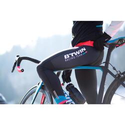 Lange fietsbroek 900 met bretels voor dames zwart blauw roze