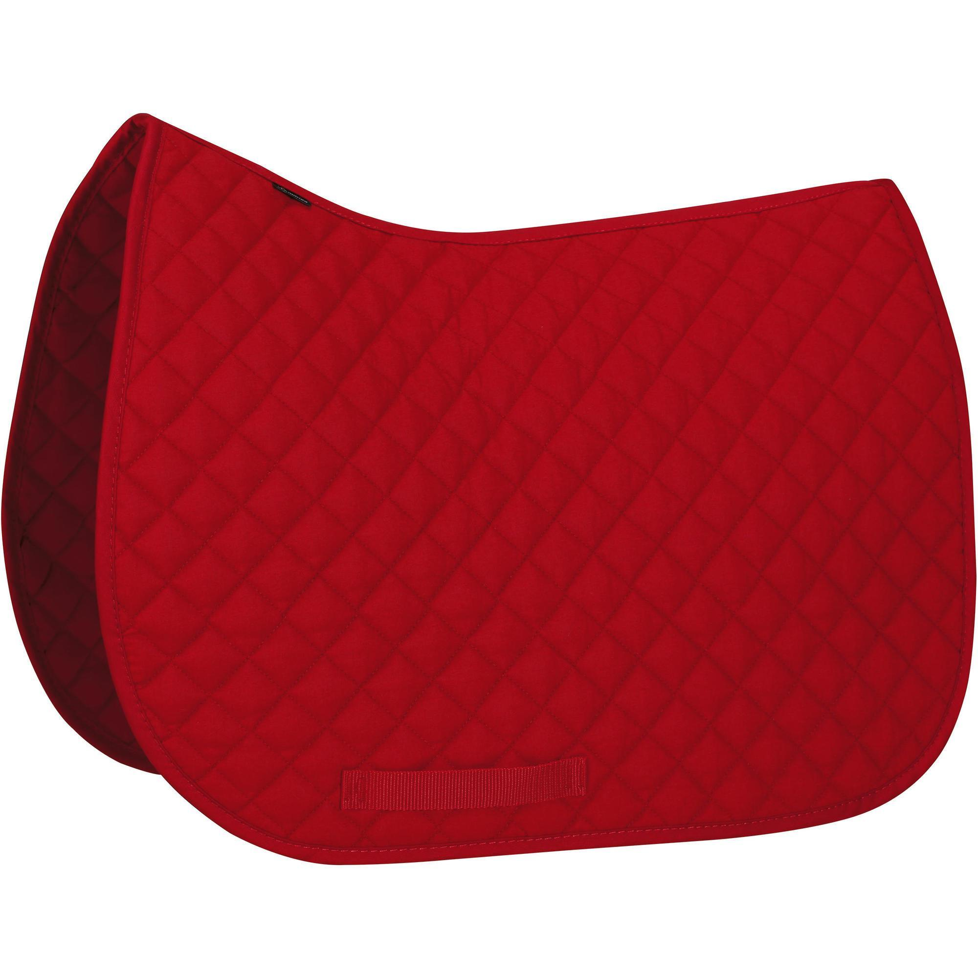 Tapis de selle quitation poney et cheval schooling rouge fouganza Tapis cheval decathlon