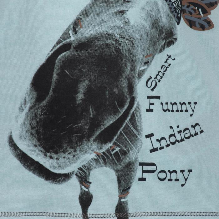 Polo manches courtes équitation enfant INDIAN PONY gris chiné - 1216610