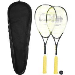 Set 2 Raquetas Squash Artengo SR 130 Adulto Negro y Pelota Punto Rojo