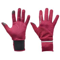 EVOLUTIVE TACTILE RUNNING GLOVES PURPLE PINK with additional MITTEN cover
