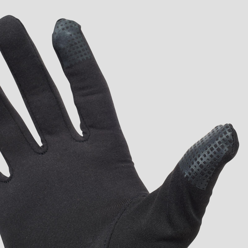 KALENJI TACTILE RUNNING GLOVES - BLACK