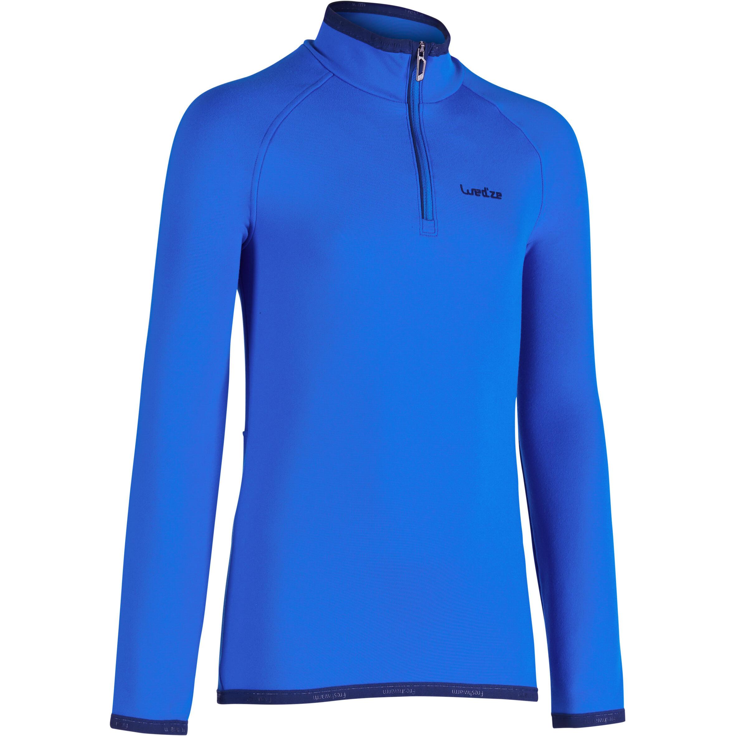 Sous-vêtement haut de ski enfant Frais et chaud 1/2 glissière Bleu