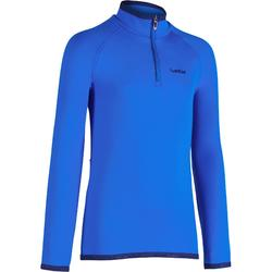 Camiseta Interior Térmica de Esquí Wed'ze Freshwarm Cremallera Niños Azul