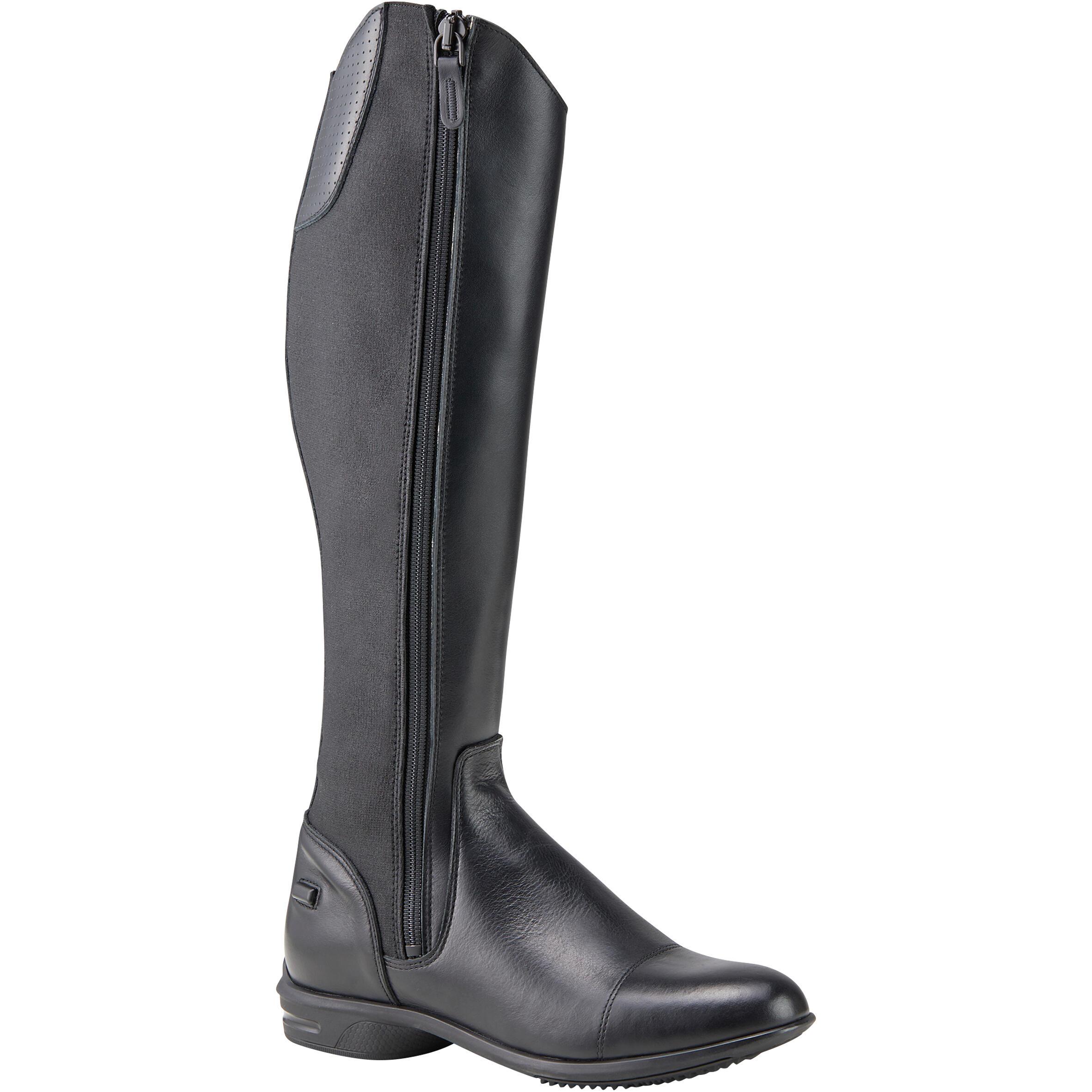 Reitstiefel 560 Leder Erwachsene schwarz | Schuhe > Sportschuhe > Reitstiefel | Fouganza
