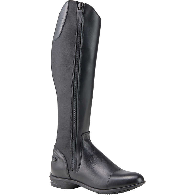LONG RIDING BOOTS & ACCESSORIES Horse Riding - 560 Adult Leather Boots Black FOUGANZA - Horse Riding