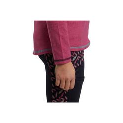 Polo niña equitación manga larga rosa bolsillo con estampado pluma azul marino