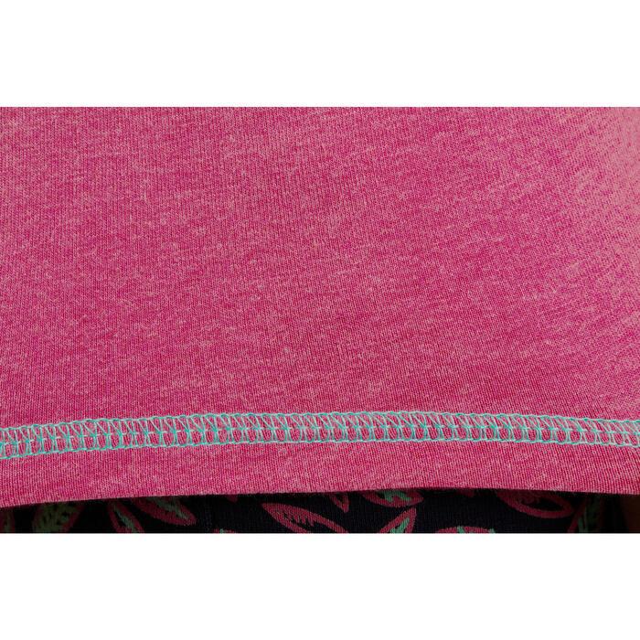 Meisjespolo met lange mouwen ruitersport roze zakje print met veer marineblauw