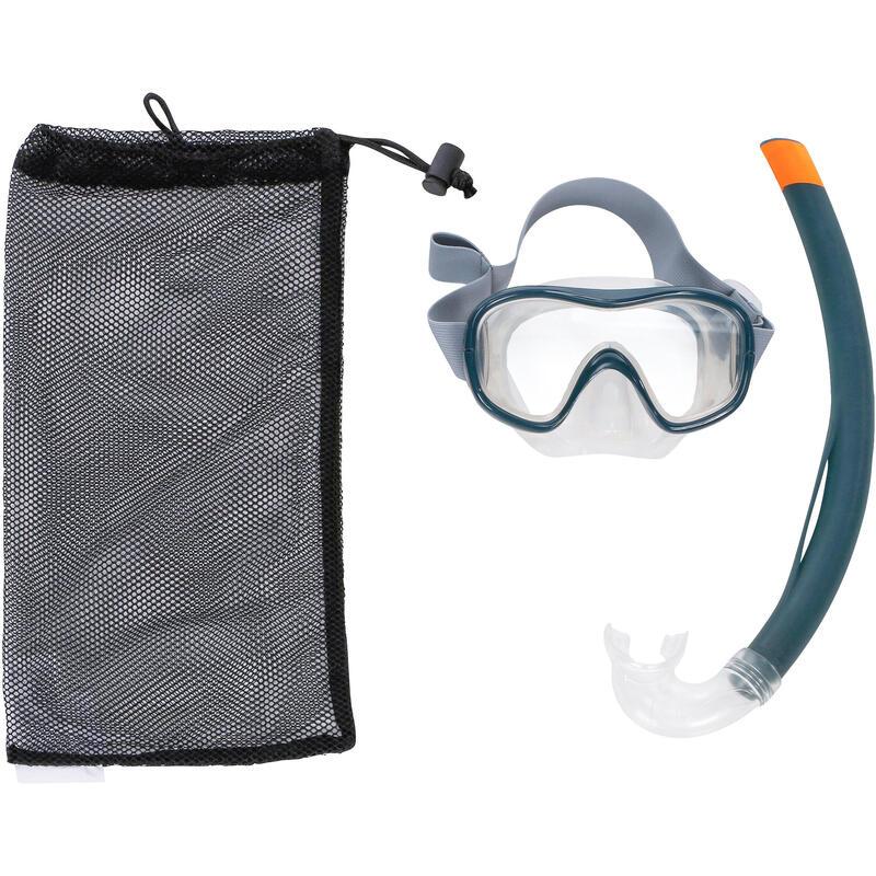 Kit Buceo Máscara Tubo Snorkel SNK 500 Adulto Niños Gris
