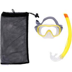 Kit máscara tubo de snorkel SNK 500 adulto y niños amarillo