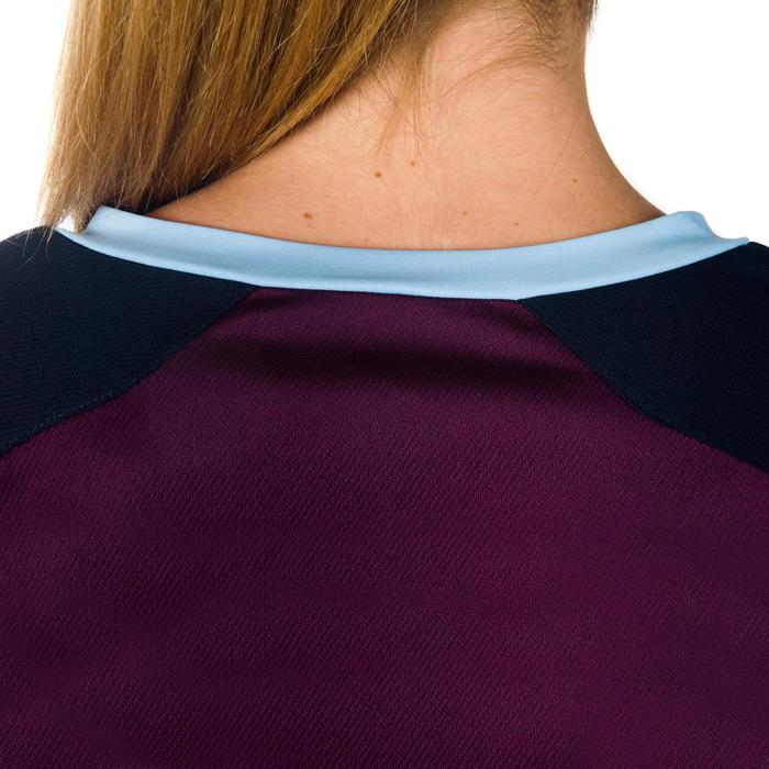 Camiseta de rugby R500 Mujer Ciruela Azul marino