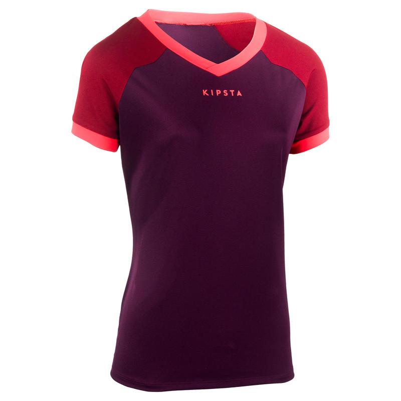 Camiseta de rugby FH 500 mujer ciruela/burdeo