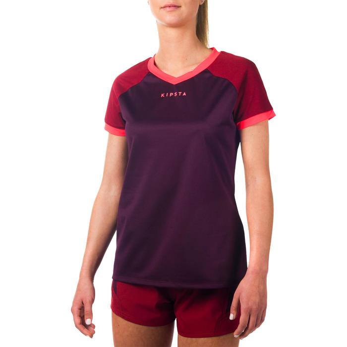 Maillot rugby R500 Femme Prune/Bordeaux