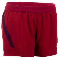 Pantalón corto de rugby R500 Mujer Burdeos/Ciruela