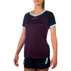 Maillot manches courtes de rugby R500 Femme Prune Marine