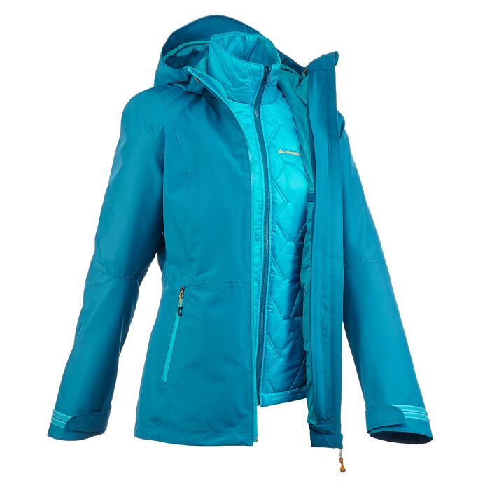 Veste trekking Rainwarm 500 3en1 femme - 1218345