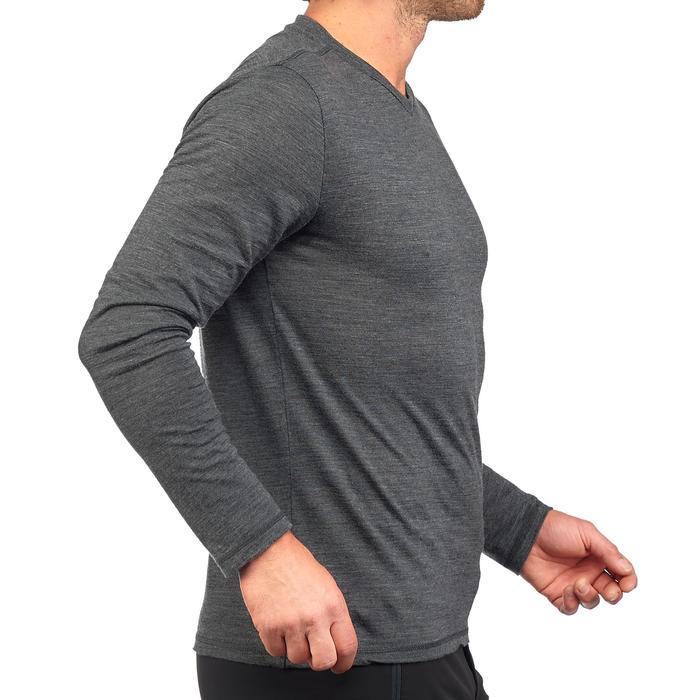 T-shirt met lange mouwen voor heren Travel 500 wol grijs