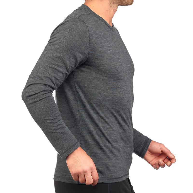 Men's Long-Sleeved T-Shirt TRAVEL 500 WOOL - Grey