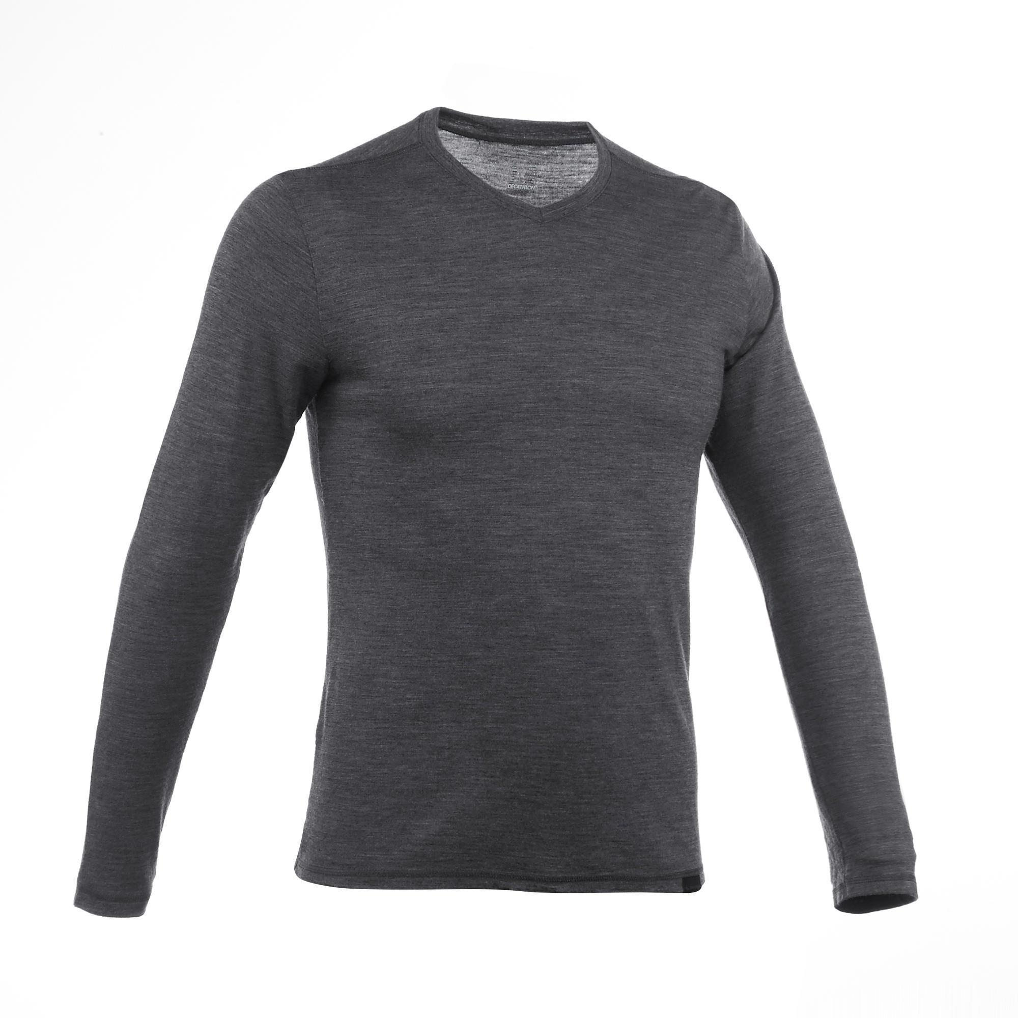 online store low price sells Tee-Shirt manches longues TRAVEL 500 WOOL Homme gris