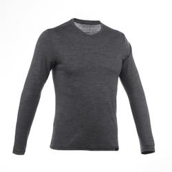 Heren T-shirt met lange mouwen Travel 500 wool grijs
