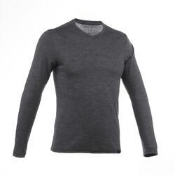 T-shirt Travel 500 met lange mouwen voor heren merinowol grijs