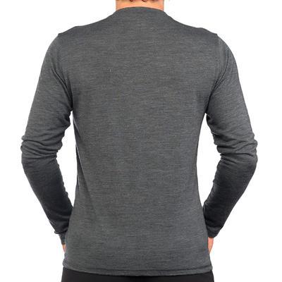 Men's Long-Sleeved T-Shirt TRAVEL 500 WOOL - Grey