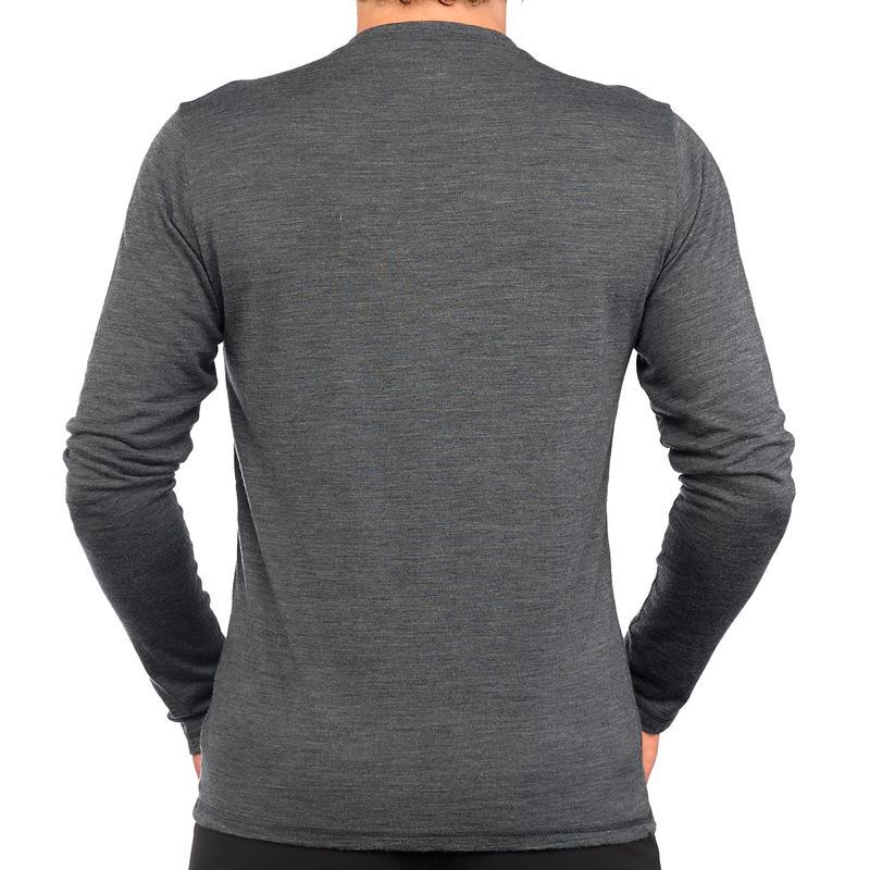 เสื้อวูลแขนยาวสำหรับผู้ชายรุ่น TRAVEL 500 (สีเทา)