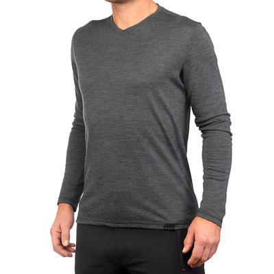 Чоловіча футболка Travel 500, вовняна, з довгими рукавами - Cіра