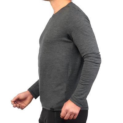 חולצת טי מצמר לגברים עם שרוול ארוך TRAVEL 500 - אפור