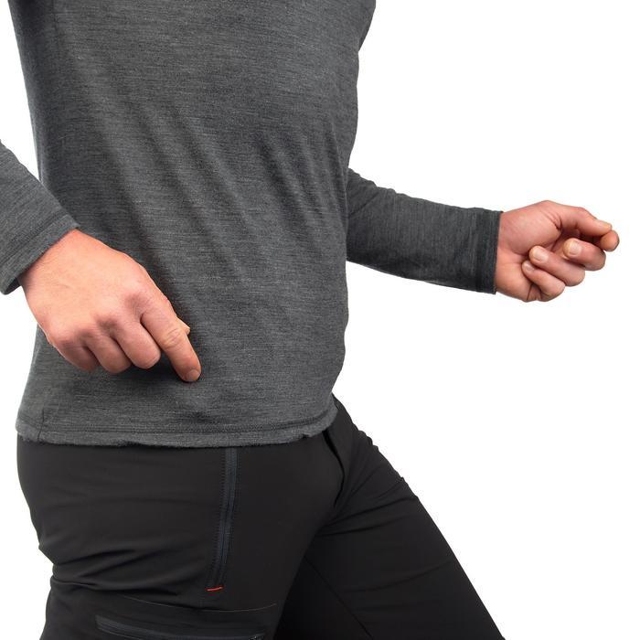 Heren T-shirt met lange mouwen Travel 500 wool grijs