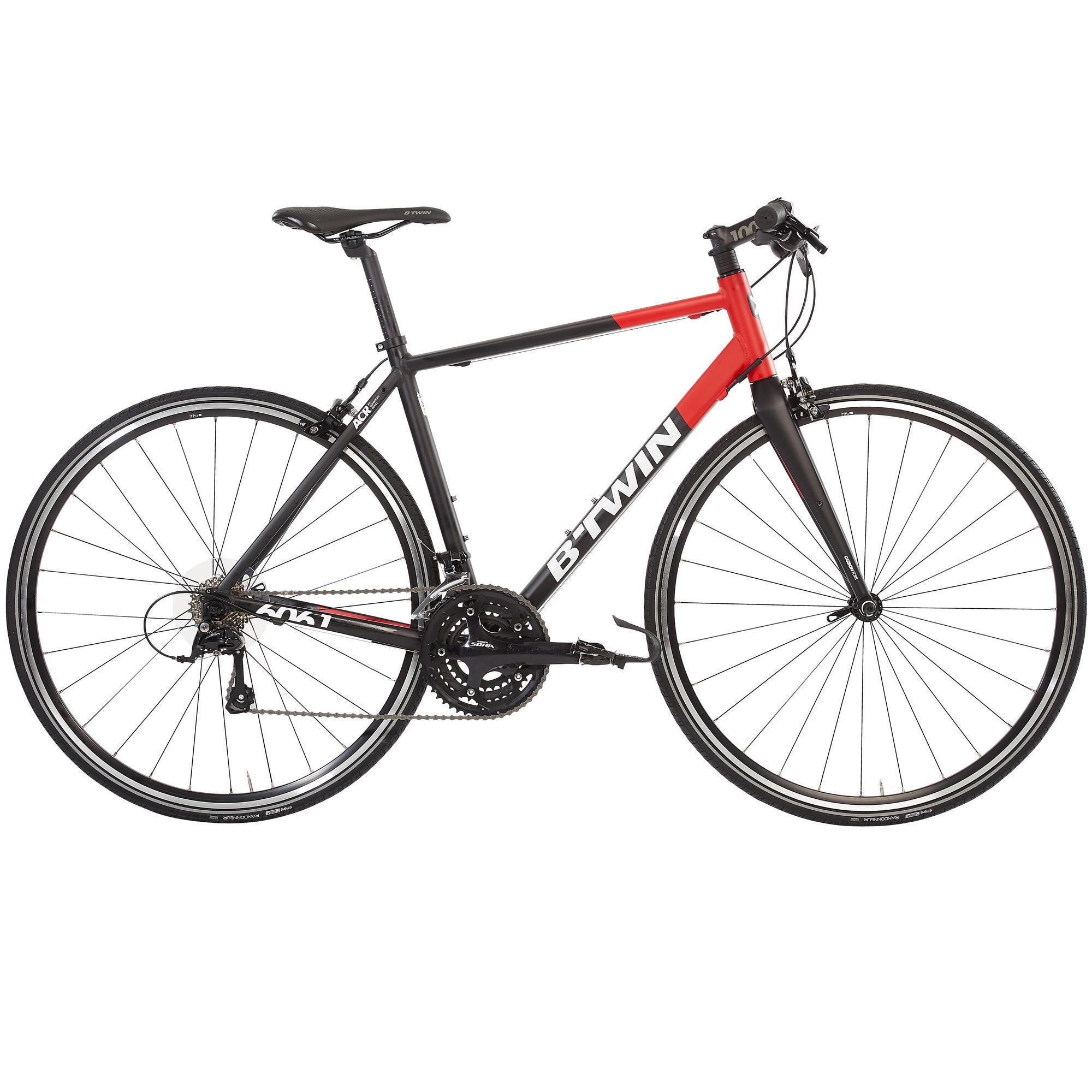 Racefiets Triban 520 FB zwart-rood-wit