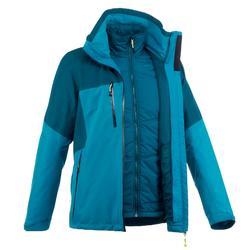 Rainwarm 500 男士防雨3合1徒步旅行運動夾克 黑色