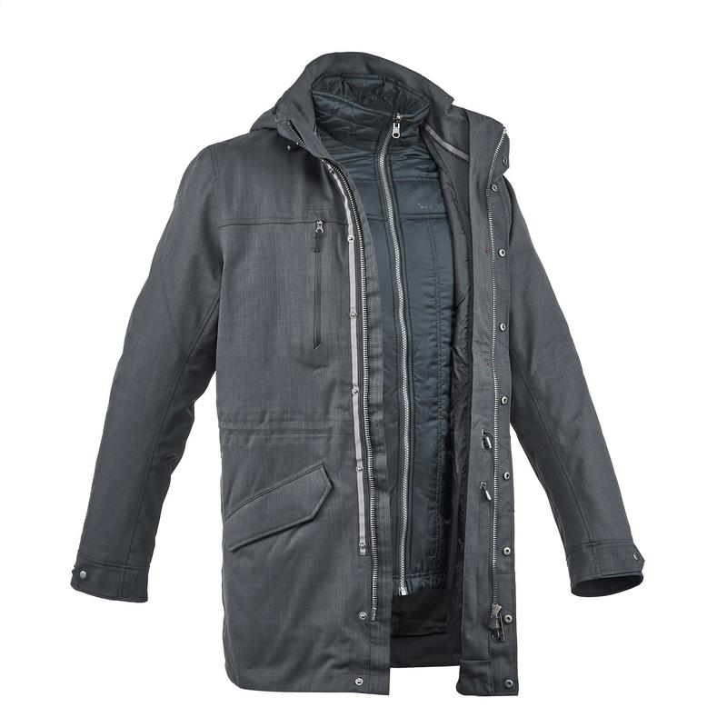 3-in-1 regenjas voor backpacken Heren comfort -15°C TRAVEL 700 zwart