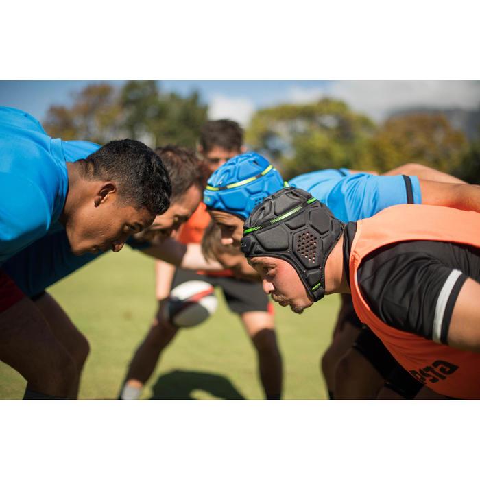 Casque rugby R500 bleu blanc