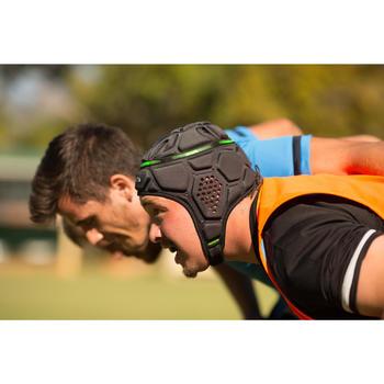 Rugby Scrum Cap Kopfschutz R500 Kinder blau/gelb